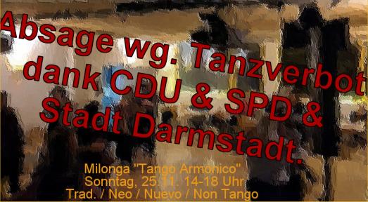 Absage Tango Milonga wg. Totensonntag in Hessen