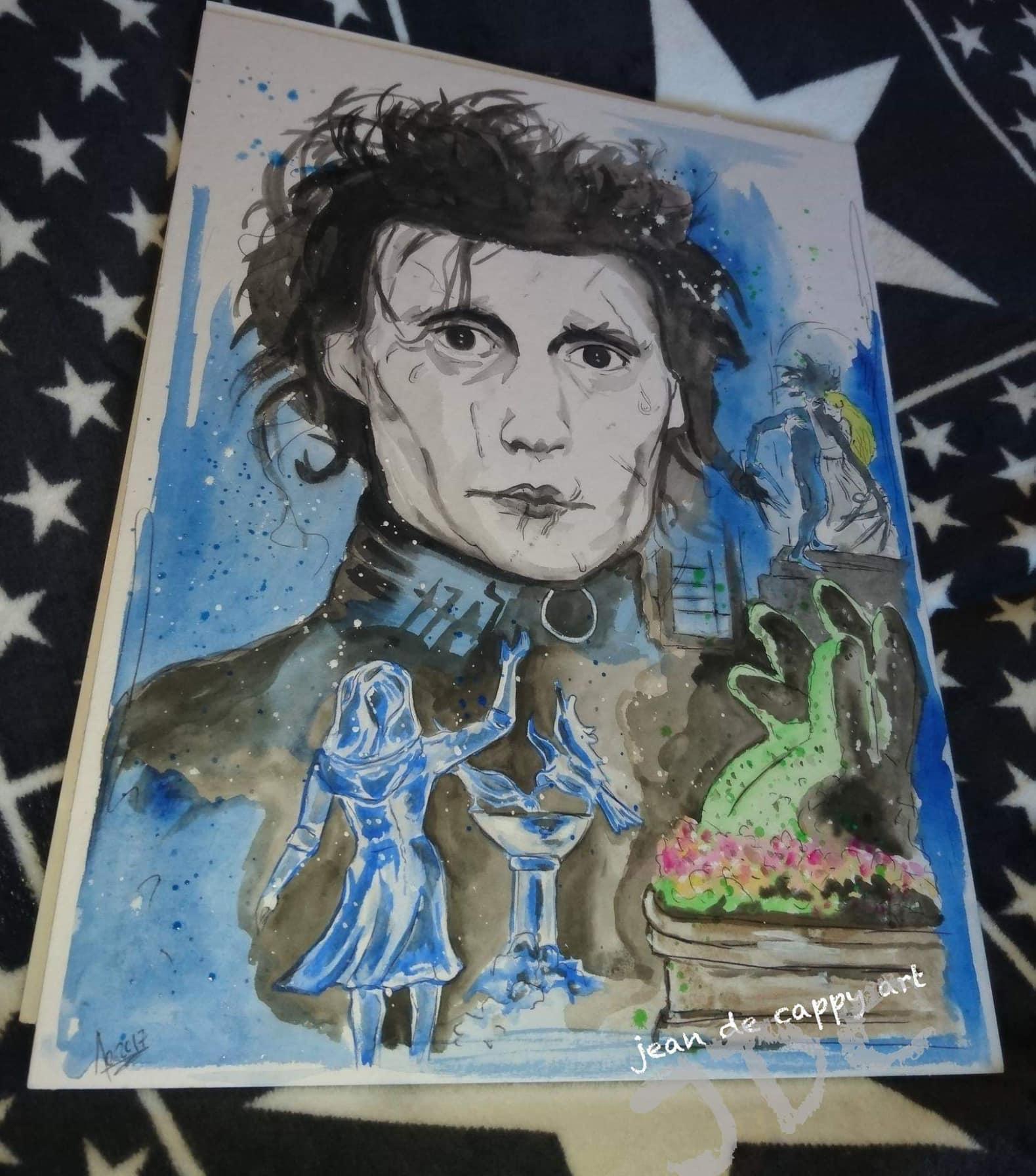 Edward Scissorhands (Edward mit den Scherenhänden) gespielt von Johnny Depp, gemalt von Jean De Cappy Art