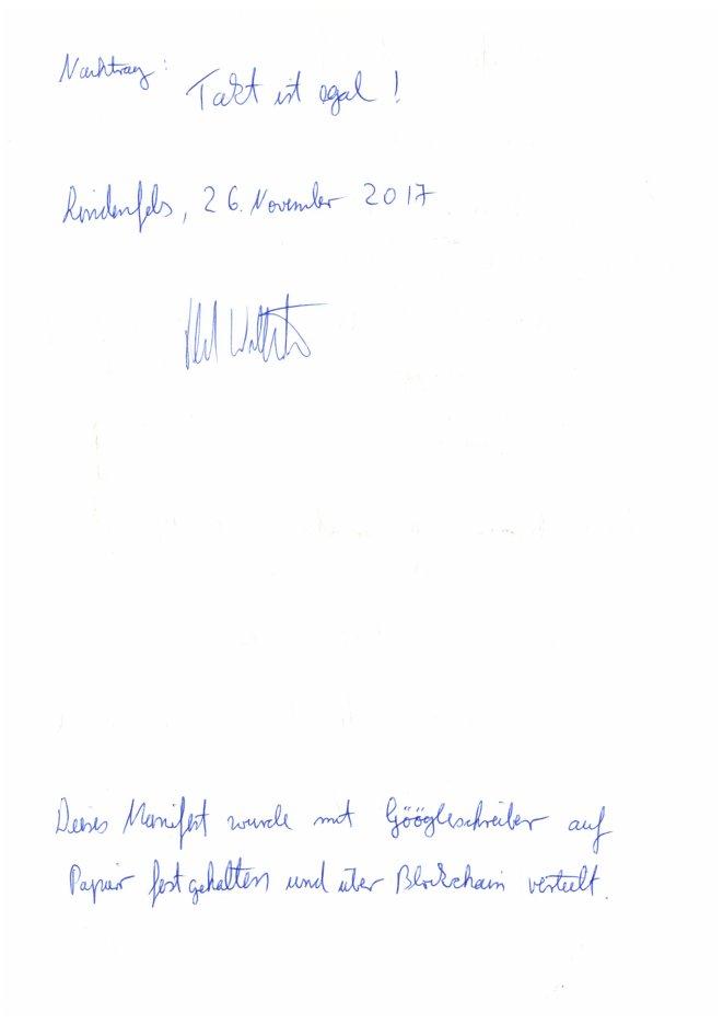 Lindenfelser Manifest - Seite zwei der Original-Abschrift mit Unterschrift des Protokoll-Führers