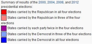 Zusammenfassung der Staatenverteilung bei den letzten 4 Präsidentschaftswahlen - Legende