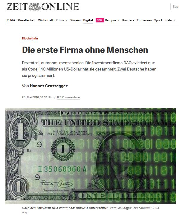 Artikel der Zeit über das DAO (Screenshot)