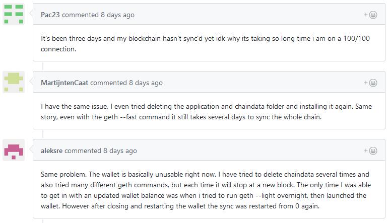 Github User berichten von Ethereum Problemen