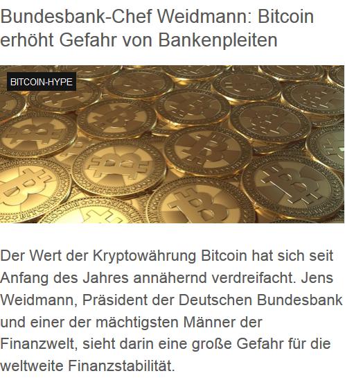 Bundesbank-Chef Weidmann: Bitcoin erhöht Gefahr von Bankenpleiten